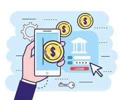 mão com smartphone e moedas do banco digital