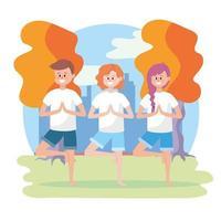 mulheres e homem praticam pose de ioga