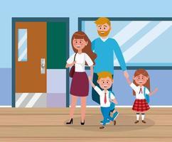 mãe e pai com seus alunos menina e menino com mochila