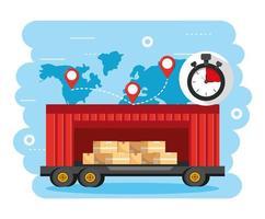contêineres com carga de caixas e localização do mapa global