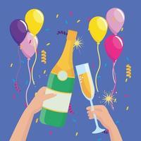 mãos com garrafa de champanhe e copo com balões