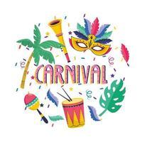 máscara com palmeiras e trompete com tambor para festival vetor