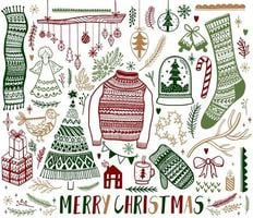 Conjunto de elementos de design de mão desenhada de Natal