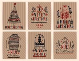 Conjunto de cartazes de cartões de presente de Natal