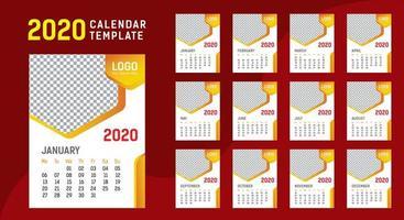 Modelo de calendário de parede 2020 vetor