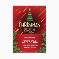 Cartaz de festa de Natal e conceito de design de folheto com fundo de árvore de Natal vetor