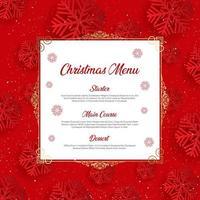Menu de Natal com design de floco de neve vetor