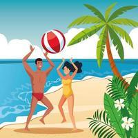 Casal de verão nos desenhos animados da praia vetor