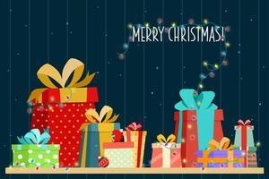 Uma pilha de caixas de presente e cenas para celebrar o Natal vetor