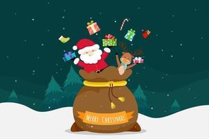 Cartão de Natal com Natal Papai Noel e Rena vetor