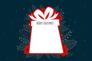 Tag em branco da caixa de presente do Feliz Natal vetor