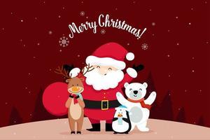 Cartão de Natal com Papai Noel acenando vetor