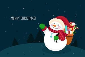 Cartão de Natal com boneco de neve vetor