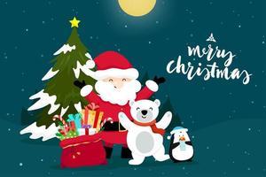 Cartão de Natal com Papai Noel de Natal vetor
