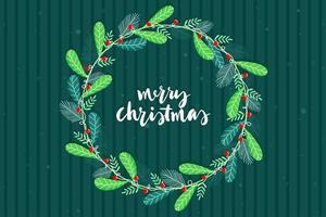 Cartaz feliz Natal com folhas de círculo. vetor