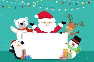 Cartão de Natal com Papai Noel e amigos vetor