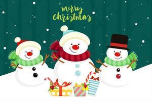 Cartão de Natal com bonecos de neve vetor