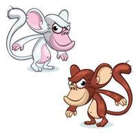 Desenhos animados os 2 macacos chimpanzé vetor