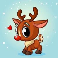 Rena de Natal bonito dos desenhos animados com nariz vermelho vetor