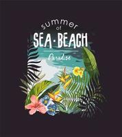 slogan de praia tropical com selva e praia vetor