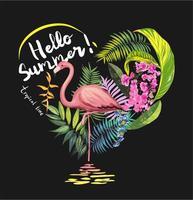 flores tropicais com ilustração de flamingo vetor