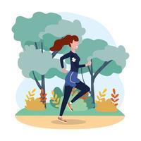 prática de mulher executando exercícios na paisagem vetor