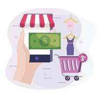mão com tecnologia de comércio eletrônico para smartphone para comprar roupas online vetor