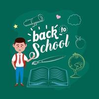 estudante de menino com mochila e livro com pincel