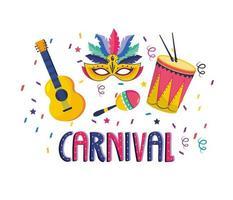 máscara com tambor e maracas com tambor para celebração vetor