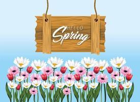 emblema de madeira primavera com rosas e flores vetor