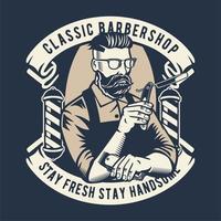 Distintivo de barbearia clássico vetor