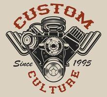 Design de camiseta com um motor hot rod em estilo vintage vetor