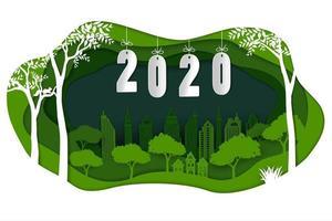 Feliz ano novo 2020 em papel arte fundo verde vetor