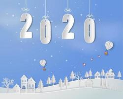 Feliz ano novo 2020 em papel arte base vetor