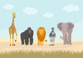 Conjunto de animais africanos na selva.