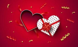 Vista superior vazio coração aberto caixa de presente dia dos namorados