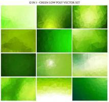 Conjunto de fundo de cristal poligonal de cor verde