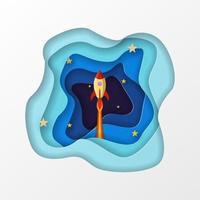 Lançamento de foguete para o espaço em estilo de corte de arte em papel