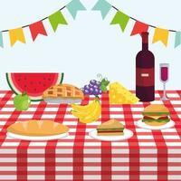 mesa com vinho e frutas saudáveis na toalha da mesa vetor