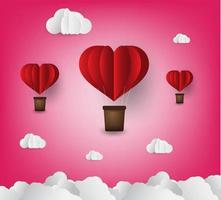 Estilo de arte em papel de corações de ar quente