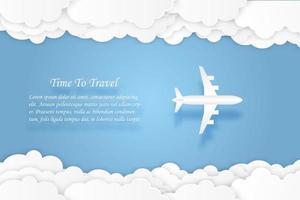 Avião voando com céu azul e nuvens em papel cortado estilo vetor