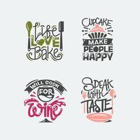 Conjunto de etiqueta de citações, tipografia e letras de cozinha