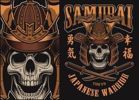 Ilustração vetorial com uma caveira samurai