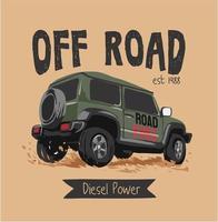 Slogan off road com caminhão com tração nas rodas 4x4 vetor