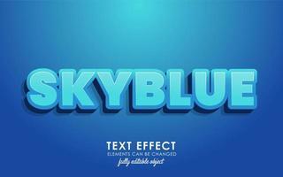 carta skyblue com efeito de texto detalhado com design 3d moderno e belo tema azul vetor