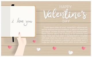 Design plano cartão de dia dos namorados com a mão segurando o diário