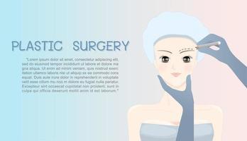 Desenho de rosto de mulher sob a cirurgia plástica vetor