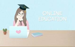 Modelo de publicidade de design plano para educação on-line vetor