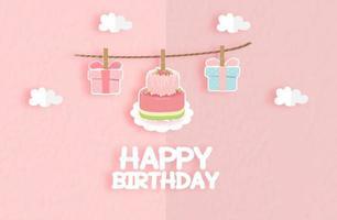 Cartão de aniversário com linda baga bolo e caixa de presente vetor