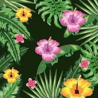 fundo de plantas tropicais de flores e folhas vetor